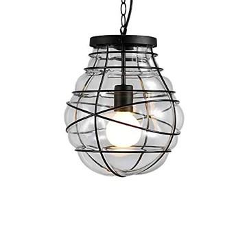 Pendentif en verre en métal lumière minimalisme rétro lampe de plafond en fer forgé industriel Edison E27 suspension 1 lumière lampe chaîne réglable lustre pour salle à manger cuisine restaurant