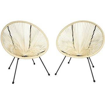 tectake 800729 2 Fauteuils Acapulco de Jardin de Salon Design rétro, pour Un Usage en intérieur et extérieur - Plusieurs Couleurs - (Beige | no. 403305)