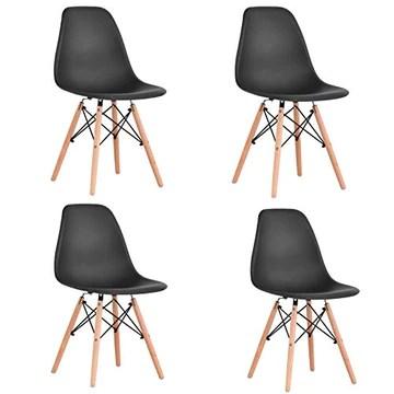 KunstDesign Ensemble de 4 chaises de Salle à Manger, Design Ergonomique, Pieds en Bois de hêtre Naturel, Look Moderne du Milieu du siècle(Noir