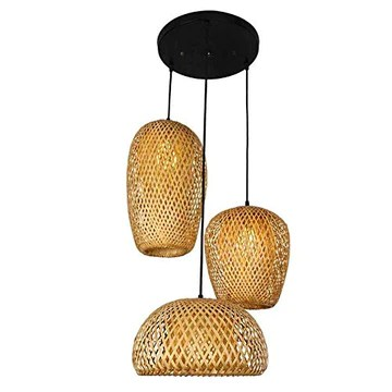 Main En Bambou Naturel Lustre Tissage Vintage Luminaire Suspendu Rotin Tissé Créations De Fées Créatives Réglable E27 Lumiere Plafond Restaurant Salon Chambre Rétro Vague Ombre Suspensions Lamp Design