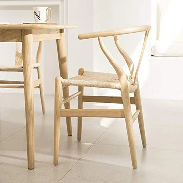 Tomile wishbone Style chaise CH24 / tissé Assise de Chaise/Chaise de salle à manger en bois massif/chaise de Fauteuil en rotin (Couleur: Couleur bois naturel)