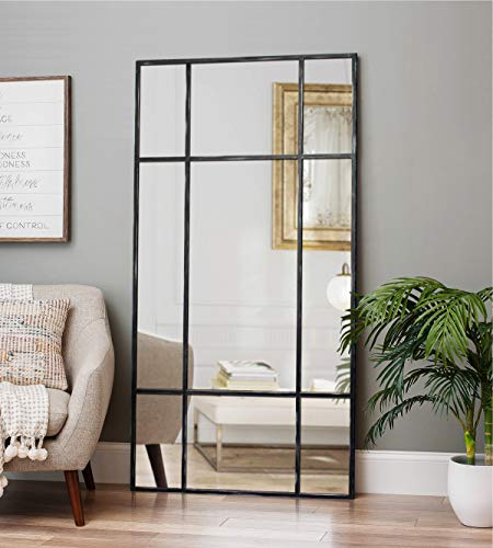 Direkte Import Miroir sur Pied en métal Noir/Argent - Miroir Long rectangulaire [220 x 110 x 3cm] | Design Danois | Miroir de Chambre sur Pied | Vertical et Horizontal