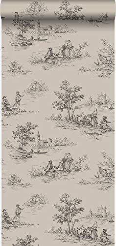 papier peint toile de jouy gris et noir - 326319 - d'Origin - luxury wallcoverings