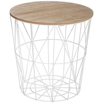 AC-Déco Table Basse Kumi - D 39.5 x 41 cm - Blanc