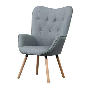 LH Meuble rembourré de Salon de Chaise de Sofa d'accoudoir Confortable Confortable de Tissu d'accent, Lin capitonné de Bouton de Fauteuil Confortable Moderne (Color : Gray)