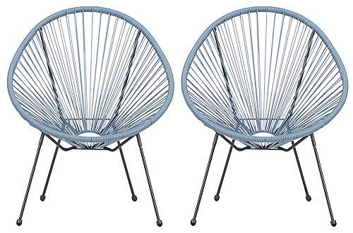 Lot de 2 fauteuils de jardin Veracruz - Acapulco - Bleu clair/gris - Pour intérieur et extérieur