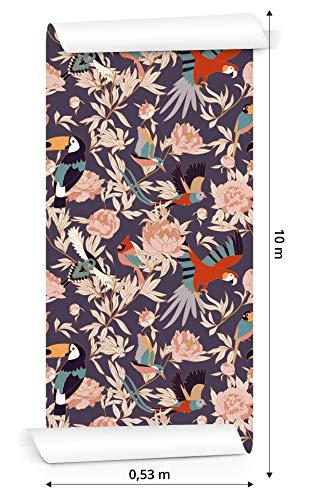 Muralo Papier Peint Magnifiques Plantes et Oiseaux Vinyle Jungle Forêt et Pluie Feuilles - 234233524