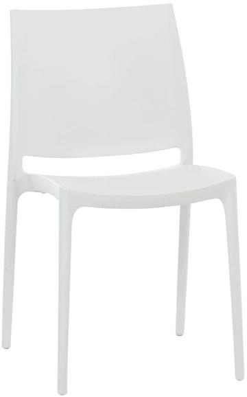 CLP Chaise de Jardin Maya en Plastique Empilable - Chaise de Cuisine Résistante aux UV, Chaise de Bistro - Charge Max. 160 kg: Blanc