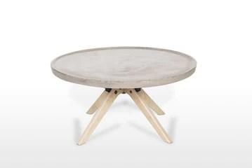 Meubletmoi Table Basse en béton et Bois décor chêne - mobilier Tendance Design loft - Style Moderne Contemporain