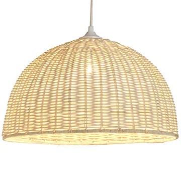 Luminaire Jacinthe 1/2 sphère, suspension rotin, 60 W, blanc, ø 40 x H 22 cm