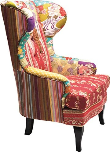 Kare design – Chaise Patchwork Aile, Tissu, Rouge/Multicolore