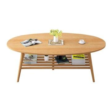 HAIZHEN Tables basses Table basse, table de rangement en bois massif ovale à 2 niveaux pour chambre, salon et espace bureau (Couleur : A)