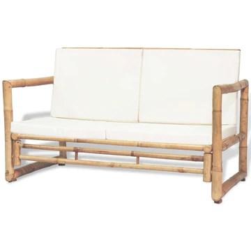 Festnight Banc en Bambou 2 Places avec Coussin pour Salon de Jardin 115 x 65 x 72 cm