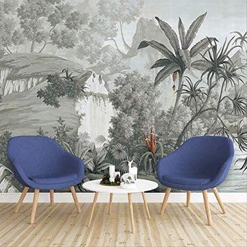 YFXGSTLI Tropical Feuilles De Banane Murale Papier Peint Paysage pour Salon Salle D'Étude Photo Papier Peint Peintures Murales W350xH256cm
