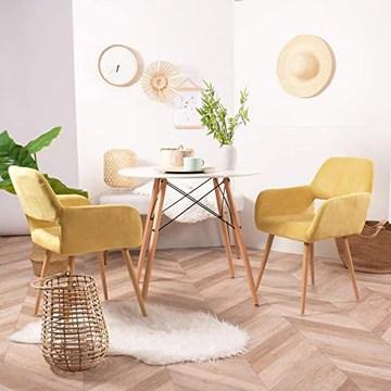 FURNISH1 Lot de 2 Fauteuil Chaise de Salle à Manger Scandinave en Tissu Jaune Métal Look Bois Chêne Design Salon Bureau Chambre