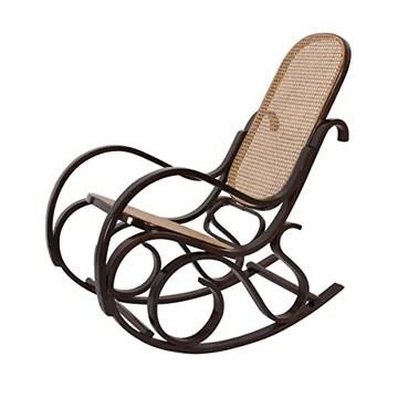 Mendler Rocking-Chair Fauteuil à Bascule, Couleur Noyer, rotin