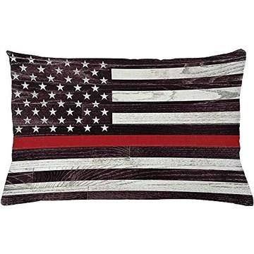 2pcs drapeau américain housse de coussin,soutien des pompiers américains avec étoiles et rayures en bois grunge,taie d'oreiller décoratif rectangulaire,36 X 20,noix de coco sombre vermillon mauve