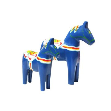 SUPVOX 2Pcs Wooden Dala Horse Figurine Painted Scandinavian Decorations for Home Or Office (Blue)
