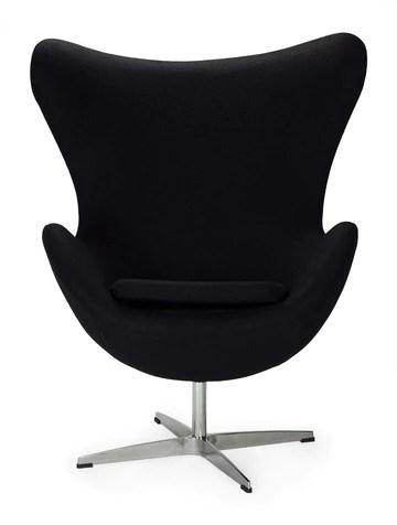 ElleDesign Egg Chair Jacobsen Fauteuil pivotant en Cachemire et Aluminium Noir