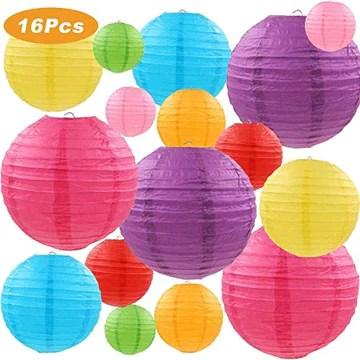 SUPRBIRD Lanternes de papier rondes chinoises colorées pour les décorations d'anniversaire, mariages, fêtes de naissance, fêtes et festivals 16 Pièces