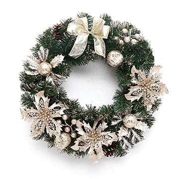 FunPa Couronne de Noel Porte, 16'' Deco Noel Deco Sapin de Noel Guirlande de Noel Decoration de Noel Exterieur avec Cintre