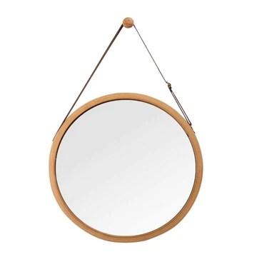 Glzcyoo Miroir Mural Suspendu dans la Chambre à Coucher - Cadre en Bambou Massif et lanière en Cuir réglable - Miroir de Maquillage Rond Mir Miroir de Chambre Rond (Color : A, Size : 45cm)