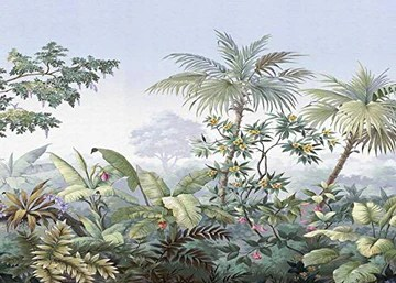 A-Gavvzq Papier Peint Panoramique jungle Soie, 350 x 250 cm Tropical Rainforest Coconut Tree Poster Geant Mural Personnalisé 3D pour Salon Chambre Décoration Murale