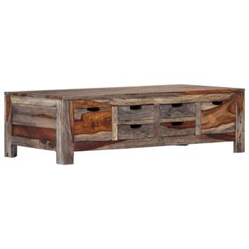 Tidyard Table Basse avec 6 Tiroirs en Bois de Sesham Massif Style Vintage Gris 100 x 55 x 30 cm