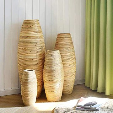 QingT Simple et Moderne, rotin, Vase en Bois, Salon, Hall,-80cm de Hauteur