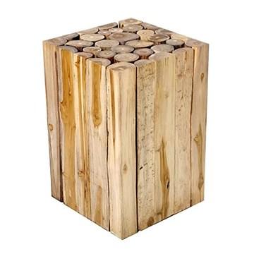 Table D´Appoint Table De Salon En Bois Teck Bois-Bloc Massif Tabouret De Fleures Design Table De Chevet Brillibrum Flyer