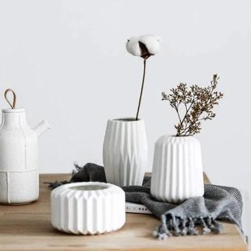 ShAwng Ensemble de 3 Origami Design Vase en céramique Fleur Vase Home Decor Élégant Vase De Table en Porcelaine Artisanat Style Européen-Blanc