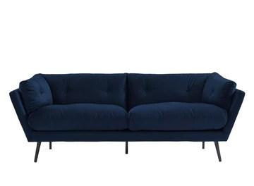 PEGANE Canapé Droit 3 Places Coloris Bleu Nuit en Velours -Dim: L216 x P89 x H84 cm
