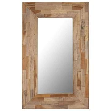 Tidyard Miroir Murale | Miroir Salle de Bain | Miroir Bois Rectangulaire Teck Recyclé 50 x 80 cm