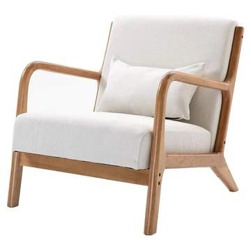Canapé Chaise en Bois Massif Chaise Longue Soutien Lombaire Ventiler Coussin Tissu Convient pour Chambre Salon Salle d'étude,Blanc