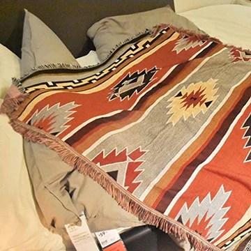 T&X Bohemian Ethnique Géométrique Indien Rétro Nordic Navajo Couverture Canapé Tapisserie, Kowart, 125X150cm