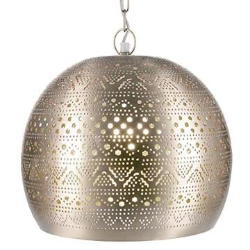 Lampe Suspension Luminaire marocaine Herera 30cm Argent E27 Douille | Plafonnier Lustre de Salon marocain oriental | Lanterne électrique indienne Vintage design décoration de maison orientale arabe
