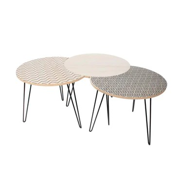 THE HOME DECO FACTORY HD3882 Lot de 3 Tables Basses Gigognes, Fer, Beige, Noir, 45 x 45 x 36 cm