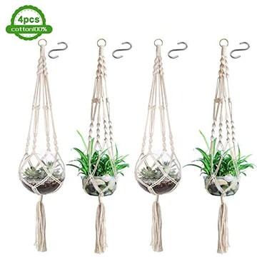 Hossom 4 Pcs Suspension Corde Plante Macramé, Suspension Plante Macramé Porte, Suspensions en macramé pour Pot de Fleurs en Intérieur et Extérieur (41 Pouces)