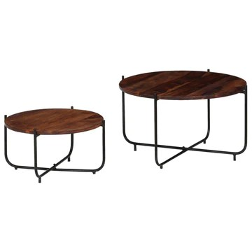 Tidyard Table Basse Gigognes 2 pcs | Table Basse Industrielle | Table Ronde en Bois de Sesham Massif 60 x 35 cm