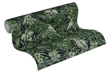 A.S. Création 372101 37210 Greenery Papier peint intissé Motif palmiers Vert/noir 10,05 m x 0,53 m, 372101