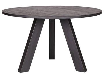 PEGANE Table à Manger diam.130cm chêne Massif Noir, H 76 x L 129 x P 129 cm