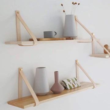 Étagère suspendue suspendue en bois flottant étagères de rangement bracelet en cuir swing bloc-notes 1 pièce ensemble 60 * 19 * 25cm