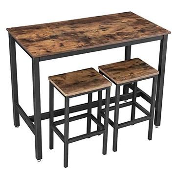 VASAGLE Lot Table et Chaises de Bar, Table Haute avec 2 Tabourets de Style Industriel, pour Cuisine, Salle à Manger, Salon, Marron rustique LBT15X
