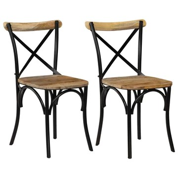 vidaXL 2X Bois de Manguier Chaises à Dossier Croisé Noir Chaise de Cuisine