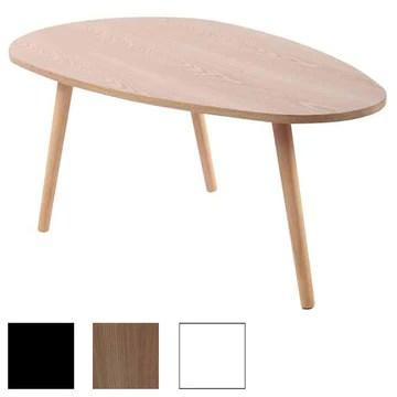 CLP Table Basse Herning I Table d'Appoint Design Plateau Élégant en MDF I 3 Pieds en Bois de Caoutchouc I Couleur : Nature, 120 cm