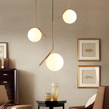 MZStech Moderne Mode Suspension Lampe Fer Verre LED Luminaire Suspension Boule Verre Vec Du Métal Doré (30CM)
