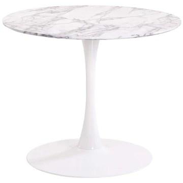 MENZZO JASMINE TABLE RONDE, BOIS,MÉTAL, BLANC/GRIS, TAILLE UNIQUE
