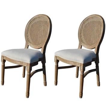 EME Mobilier de Chaise médaillon Style Luis XVI en Bois de Bouleau Massif Vieilli Contient Deux unités de chaises. Dossier en rotin Naturel. Assise rembourrée en Lin Beige. Empilable.
