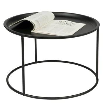 Woood, Grande table d'appoint noire avec plateau séparé