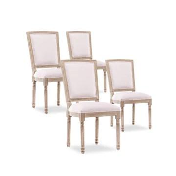 INTENSEDECO Lot de 4 chaises Style TRIANON Louis XVI Impériale Tissu Beige